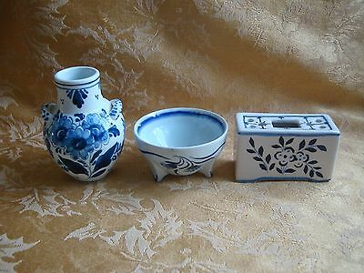 Vintage Three Small Blue and White Vase/Bowl, Handpainted Mint Holand/Portugal