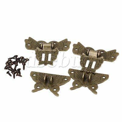 2pcs Antique Bronze Jewelry Box Butterfly Padlock Hasp Buckle Clasp For Cabinet