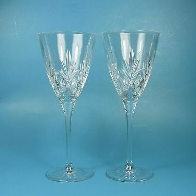 "Cristal D'Arques WILLIAM Wine Glasses Set of 2 Clear 7.5"" Glass Criss Cross Fan"