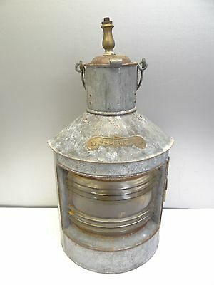 Antique Metal Brass Accent Red Clear Glass Dual Shade Bakboord Nautical Lantern