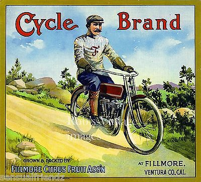 Cycle Citrus Crate Label Art Print Vintage 1915 Fillmore Citrus Ca Motorcycle Ad