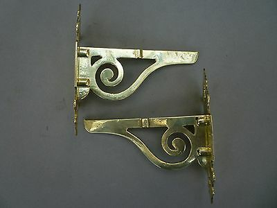 Antique pair of rack brackets shelf brass