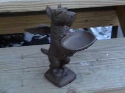 Flying Scottie Dog Statue Holding Tray Cast Iron Rustic Farm Home Yard Decor