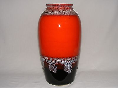 "Vtg 16"" Tall SCHEURICH West Germany Pottery Mid Century Modern RED FLOOR VASE"