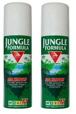 2x Jungle Formula Maximum Aerosol Spray 150ml IRF4 50% DEET Insects Midges