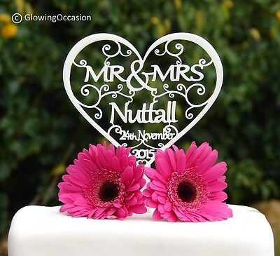 Personalised Mr & Mrs Wedding Cake Topper Decoration With Surname & Wedding Date