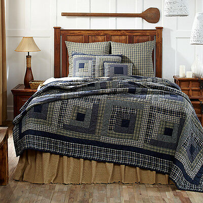 Columbus Country Patchwork Quilt Hand Stitched Log Cabin Blue Plaid Cotton