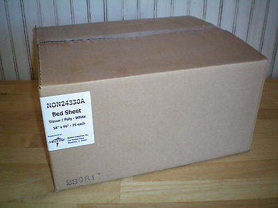 "Medline NON24330A Disposable Tissue Poly White Bed Sheet 58"" x 96"" ~ Box of (25)"