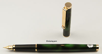 ROTRING Set (Fountain Pen + Ballpoint Pen) Green-Marble (from around 1982)