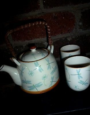 GREEN BLUE Dragonfly 3pcs Japanese Pot Chinese Tea set 2 large Cup infuser Gift