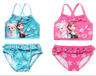 Frozen Kids Girls 2 PCS Elsa Anna Bikini Swimwear Bathing Swimsuit 4-12Y
