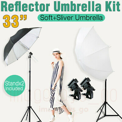 Studio Photography Speedlite Flash Umbrella Lighting Light Stand+2 Bracket B Kit