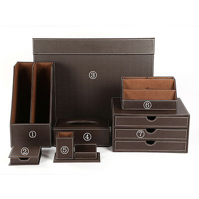 New Leather Wooden Office Desk Files Organizer 7pcs/Sets Tissue Holder Clipboard