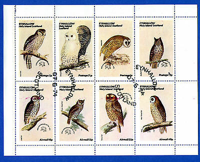 Birds  -  Holy Island, Scotland - Minisheet Of 8 Different Owls Stamps  -  1974