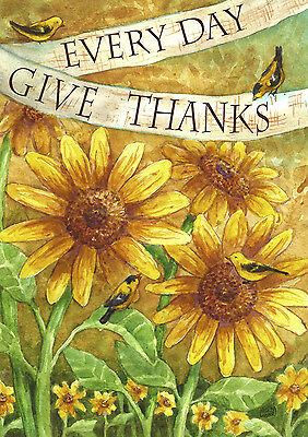 "Sunflower Give Thanks Everyday House Flag Bird Decorative Summer Banner 28""x40"""