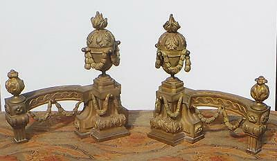 A Pair Of French Gilt-Bronze Andirons/chenets Louis Xvi Style