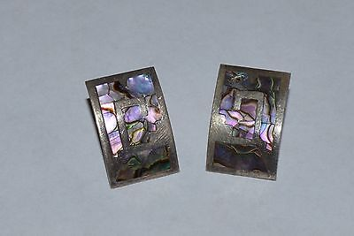 Vintage Mexico Signed Jpm Sterling Silver And Abalone Shell Panel Earrings
