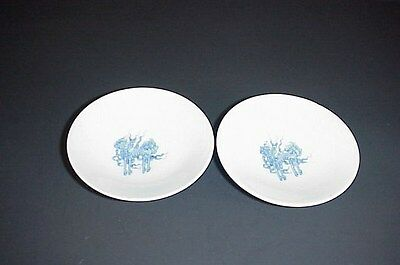 Antique Chinese Dragon Rice Bowl Lids Blue White Fire Ball Mythical Horse Set 2