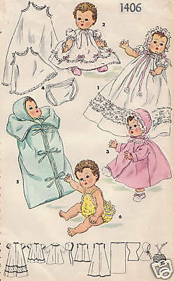 "1406 Vintage Chubby Baby Doll Pattern - Size 20""--Year 1948"