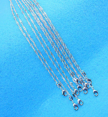 """5PCS Wholesale Jewelry 925 Sterling Silver Plated """"Water Wave"""" Chain Necklaces"""