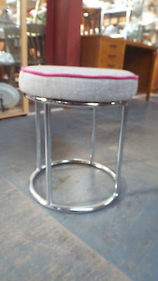 Art Deco Style Chrome Stool / Newly Re-Upholstered /  Circa 1940-50's