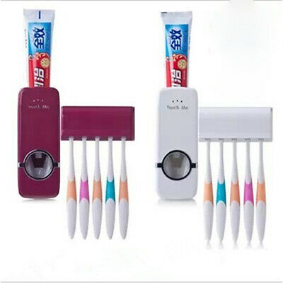 Home Auto Toothpaste Dispenser Squeezer Brush Holder Hole Set Wall Mount