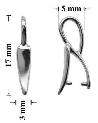 Sterling Silver Pinch Bails with Loop 17x3mm for SWAROVSKI Crystals * Findings