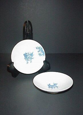 Chinese Dragon Rice Bowl Lids Blue White Fire Ball Mythical Horse Set