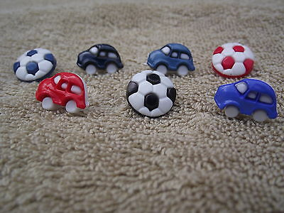 Novelty Buttons - Car Shaped Or Footballs - Choice Of Colours & Amounts