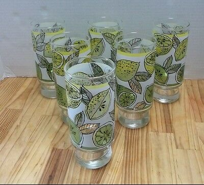 Vintage Libbey Citrus Lemons Limes Footed Pedestal Tumblers Drinking Glasses 6