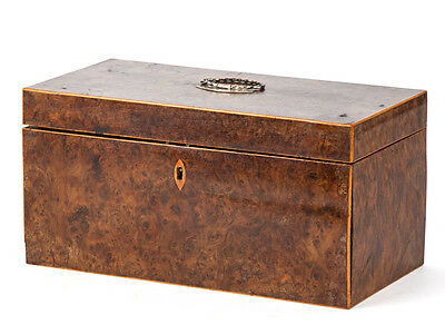 Georgian Burr Walnut Veneer Boxwood Tea Caddy