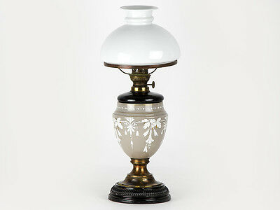 c1880 Victorian Opaline Glass Mary Gregory Style Table Oil Lamp