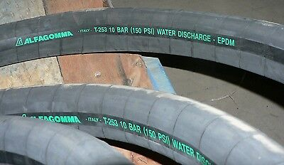 """Water Discharge Hose 42' Alfagomma T-253 150Psi 1-1/2"""" Brass Female Ends"""