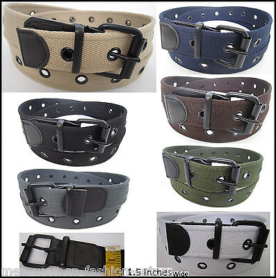 Mens Womens Dress Casual Jeans Canvas Leather Belt Roller Buckle 501 1-Row Holes