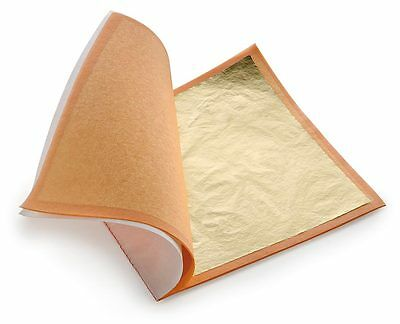 50 Edible Gold Leaf Sheets 99.9 - 24K  8x8 cm - Gilding, Food Decorating, Art