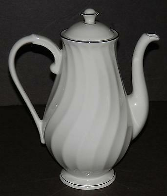 SYRACUSE FINE CHINA Silhouette  WEDDING RING ~ PLATINUM TRIM COFFEE POT ~ MINTY