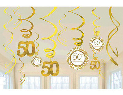 50th Golden Anniversary Hanging Swirl Decorations party supplies, Danglers~12pc