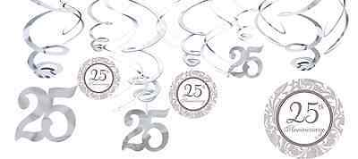 25th Silver Anniversary Value Pack Hanging Swirl Decorations Party Supplies 12ct