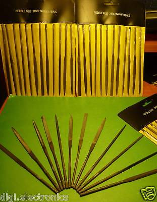 12pcs Needle Precision Files Jewelry + Craft Rasps 3mm x 140mm with Tool Pouch