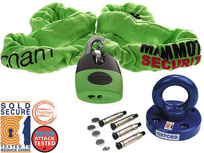 Thathcam Mammoth Chain Shackle Lock 180 Cm And Oxford Rota Force Ground Anchor
