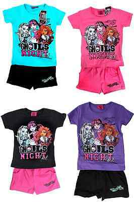 New girls licensed Monster High summer set cotton shorts top sizes 6-10 years