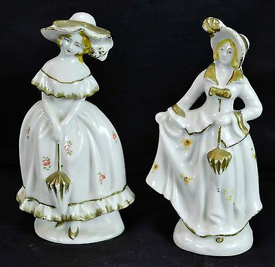 """Lot of 2 Vintage 6"""" Tall Porcelain Victorian Woman Figurines Made In Japan Gold"""