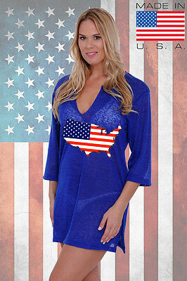 2492452811d4e Women's USA Flag Tunic Dress Country Pride Red White & Blue Swimwear Coverup