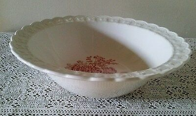 """1940's Taylor Smith & Taylor  Round Serving Bowl  """" Pink Castle""""  9"""""""