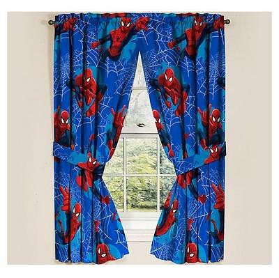 "NEW Marvel Ultimate Spiderman SpiderMan Panels Drapes Curtains Set of 2 42""x63"""