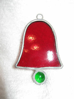 "Smaller red Bell Stained glass Sun Catcher 2"" x 3"" Colored Window Decor __C3"
