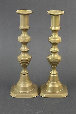 "Pair of Antique Solid Cast Brass Baluster Style 9 3/4"" Candlesticks"
