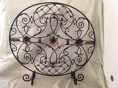 Beautiful Pre 1980 Decorative Wrought Iron Footed Fireplace Cover; Great Perfect