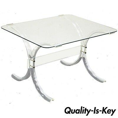Vintage Mid Century Modern Glass Top Lucite X Form Butterfly Side End Table