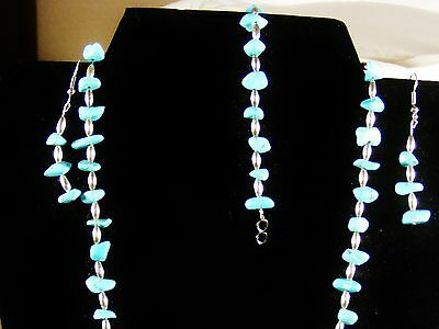 Turquoise And 925 Solid Ss Set Chain, Ear Rings, And Bracelet